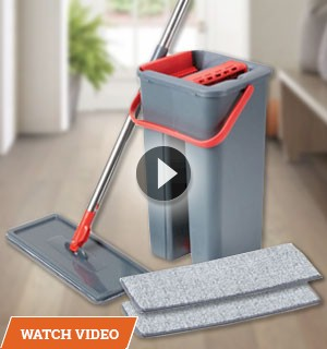 Ultra Slim Mop w/ Dual Chamber Self-Cleaning Bucket and 2 Microfiber Mop Pads
